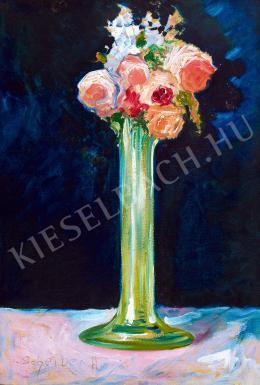 Scheiber Hugó - Rózsák zöld vázában (1918 körül)