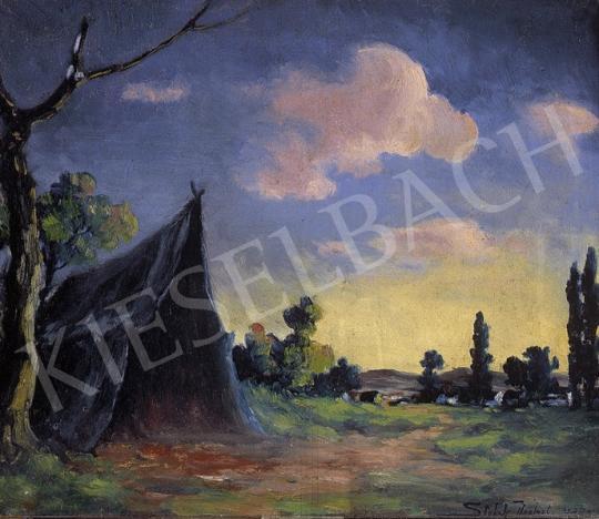 Sztelek Norbert - Esti táj sátorral | 8. Aukció aukció / 290 tétel
