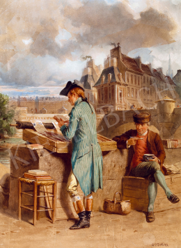 David, Gustave - Parisian bookseller on the bank of the Seine
