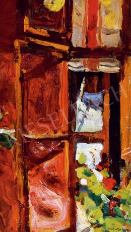 Perlmutter Izsák - Napfényes nyitott ablak muskátlikkal