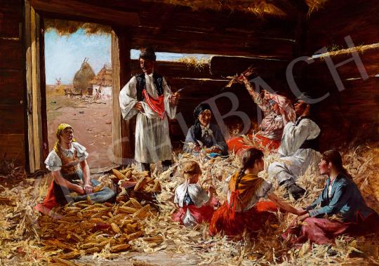 Pataky László - Kukoricafosztók (Enyelgés) | 50. őszi aukció aukció / 13 tétel
