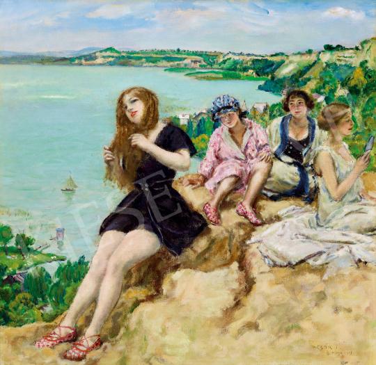 Csók István - Fiatal lányok a Balaton-parton (Balatonaliga) | 50. őszi aukció aukció / 23 tétel