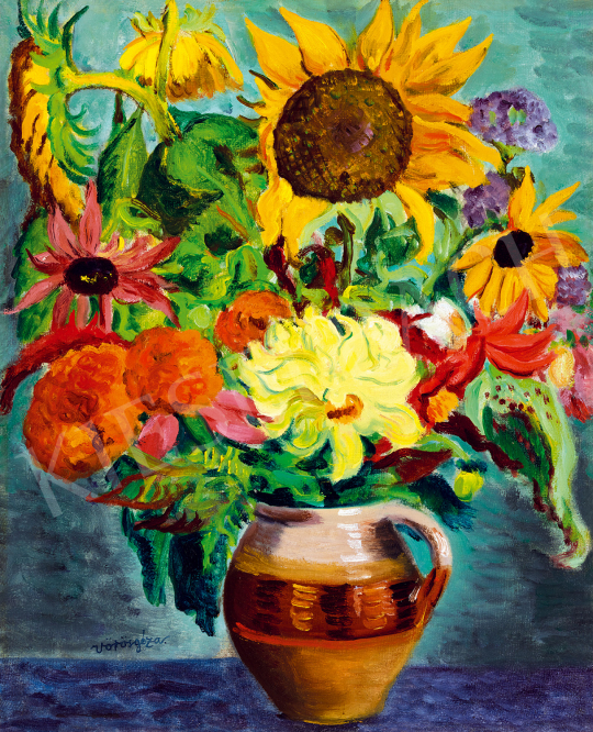 Vörös Géza - Virágcsendélet napraforgóval, dáliával, őszirózsákkal   50. őszi aukció aukció / 38 tétel