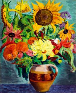 Vörös, Géza - Flower still life with sunflower, dahlia and aster
