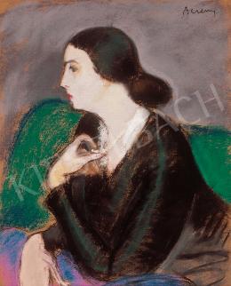 Berény, Róbert - Lady in green armchair with necklace