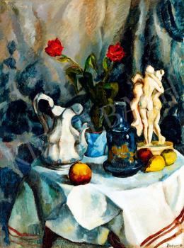 Perlrott Csaba, Vilmos - Still life with flowers, fruits, sculptures in the studio (1910s)