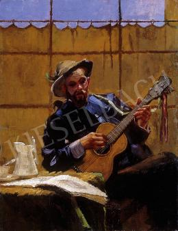 Unknown Hungarian painter - Man with a guitar