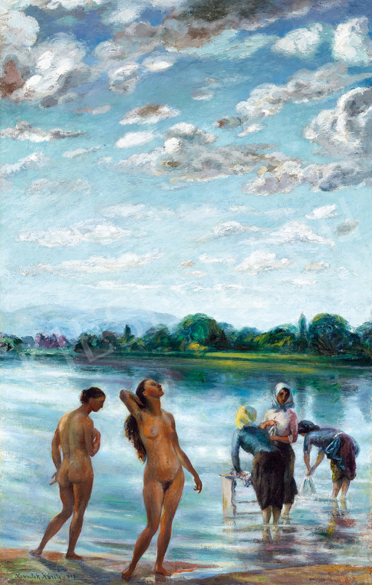 Kernstok, Károly - Bathers on the riverside. Idyll by the Danube (Lights above the Danube)   The 50th auction of the Kieselbach Gallery. auction / 70 Item