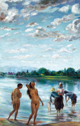 Kernstok Károly - Fürdőzők a  folyóparton. Dunai idill (Fények a Duna fölött)