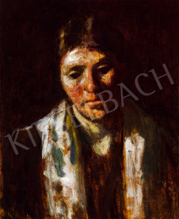 Koszta, József - Woman with colourful shawl
