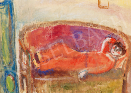 Anna, Margit - Self-portrait in red pyjamas (Woman lying)
