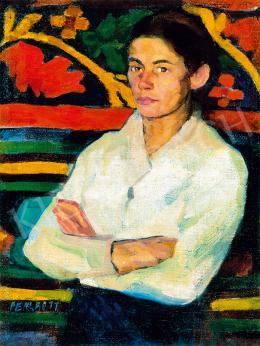 Perlrott Csaba Vilmos - Fehéringes nő keleti szőnyeg előtt