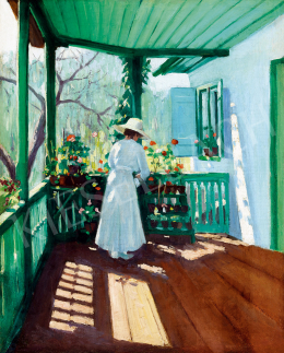 Unknown Hungarian painter, about 1910 - On the sunlit verandah