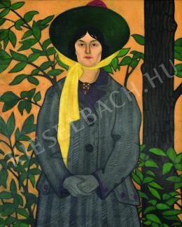 Remsey Zoltán - Kalapos nő fa előtt (1910-es évek)