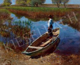 Peske Géza - Horgászó fiú csónakban