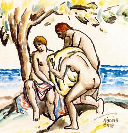 Kádár Béla - Fürdőzők a tengerparton (1910-es évek)