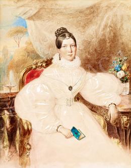 Barabás Miklós - Fiatal hölgy háttérben kastélyparkkal (1834)