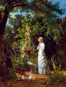 Molnár József - Szerelmes lány a rózsakertben (A kert virágai) (1885 körül)