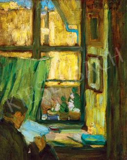 Egry József - Műteremben (Olvasó férfi)