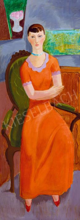 Fenyő György - Hölgy piros ruhában (Flóra)