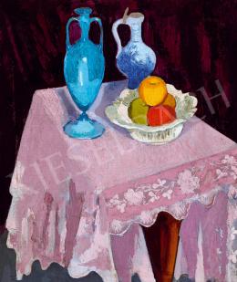 Fenyő György - Csendélet gyümölcsökkel és kék vázával