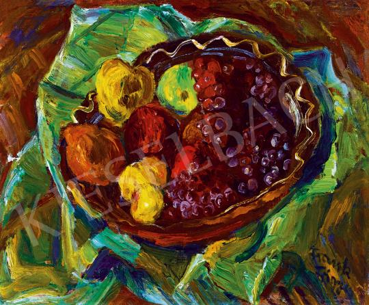Frank Frigyes - Csendélet szőlővel és almákkal (Ősz) | 51. téli aukció aukció / 114 tétel