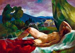 Patkó, Károly - Female Nude Lying in Nagybánya Landscape