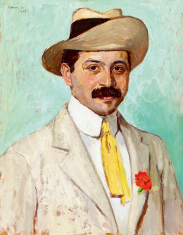 Fényes, Adolf - Man in a Hat with Red Carnation