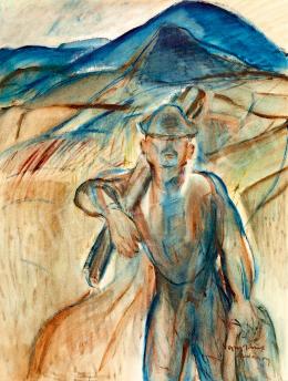 Egry József - Önarckép festőállvánnyal (Badacsony)