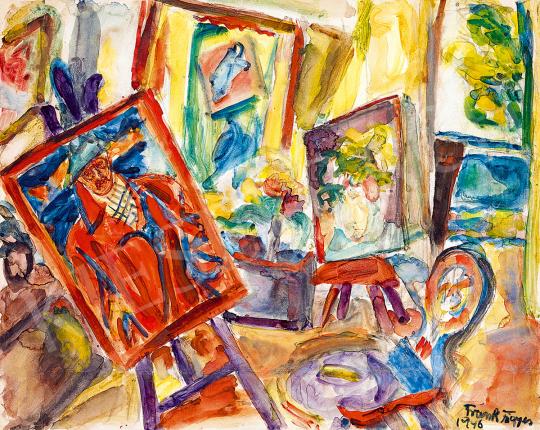 Frank Frigyes - Műterem (Festőállvány önarcképpel)   51. téli aukció aukció / 127 tétel