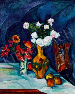 Perlrott Csaba Vilmos - Műtermi csendélet virágokkal, gyümölcsökkel