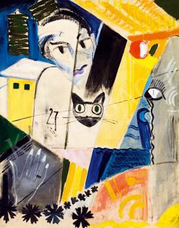 Vaszkó Ödön - Art deco kompozíció női akttal, macskával