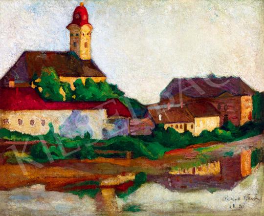 Perlrott Csaba Vilmos - Nagybánya látképe a folyópartról (Tükröződés) | 51. téli aukció aukció / 179 tétel