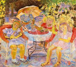 Járitz, Józsa - Tea-party in the Village Garden
