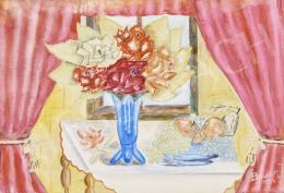 Ismeretlen festő - Virágcsendélet megnyitott rózsaszín függönnyel
