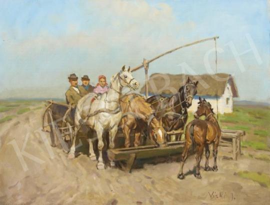 Eladó  Viski János - Gémeskútnál festménye