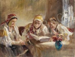 Péczely Antal - Napsütéses szobában olvasó lányok
