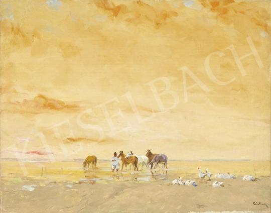 Eladó Csillag József - Balaton-part lovakkal festménye