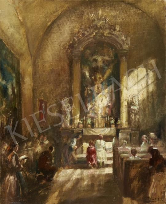 For sale Péczely, Antal - Lights in the Church 's painting