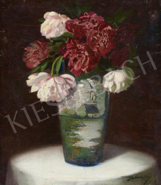 Jelenffy jelzéssel - Virágcsendélet holland vázában, 1920-as évek festménye
