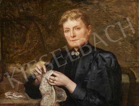 Eladó Bruck Lajos - Kézimunkázó párizsi hölgy (Hommage a Munkácsy) festménye