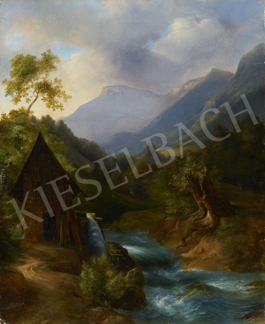 Eladó Ismeretlen osztrák festő, 1845 körül - Alpesi táj festménye