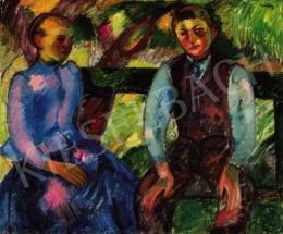 Márffy Ödön - Fiú és leány zöld padon (1907 körül)