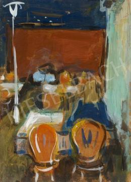 Ismeretlen magyar festő - Kerthelyiségben (1960-as évek)