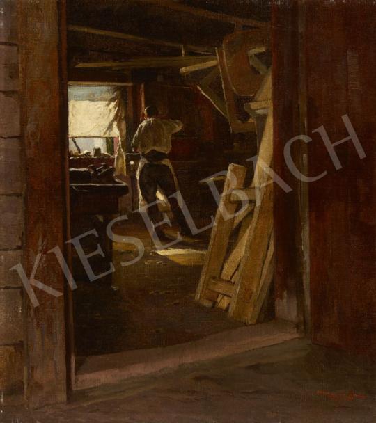 Eladó Mérő István - Kilátás az ablakból (Asztalosműhely) festménye