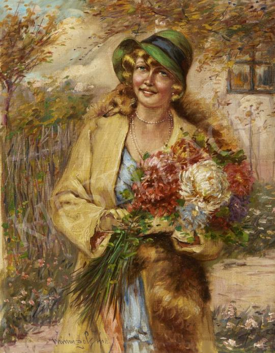 Ivanácz Zsolt József - Kalapos hölgy virágcsokorral festménye