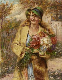 Ivanácz Zsolt József - Kalapos hölgy virágcsokorral