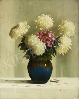 Hollós K. jelzéssel - Virágcsendélet (Krizantémok)