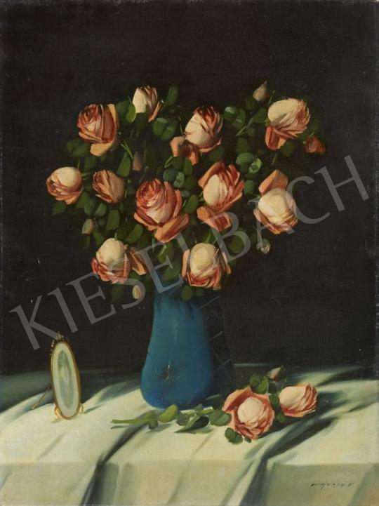 For sale Murin, Vilmos - Roses in a Blue Vase 's painting
