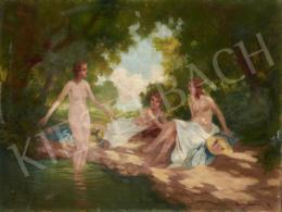 Brettschneider Rudolf - Patakparton fürdőzők